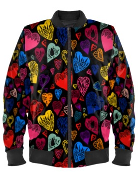 Multi-Colored Hearts Bomber Jacket By Mark Loring