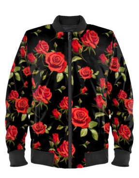 Red Roses Bomber Jacket By Mark Loring