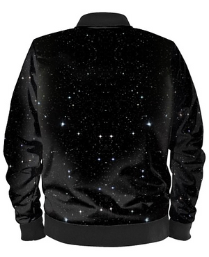 'Amongst The Stars' Black Bomber Jacket By Mark Loring