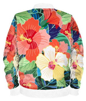 Tropical Hibiscus Bomber Jacket By Mark Loring