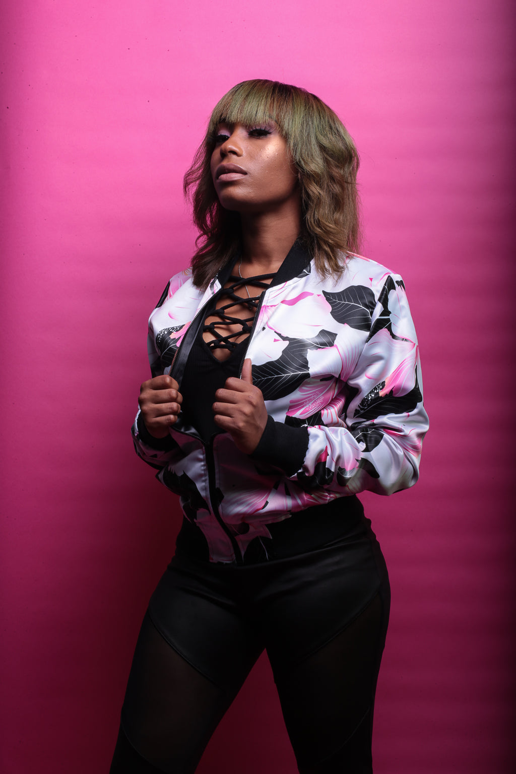 Pink Blossom Bomber Jacket By Mark Loring