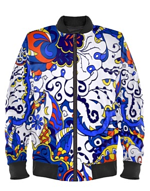 Tri-Cream Blue Edition Bomber Jacket By Mark Loring