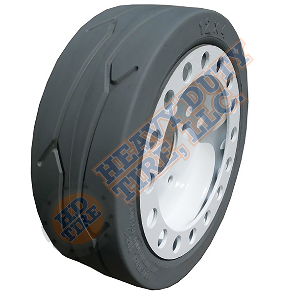 12 x 4 (2.00 x 8) Traxter Solid Grey Non-Marking (With Brake - 5 Hole)