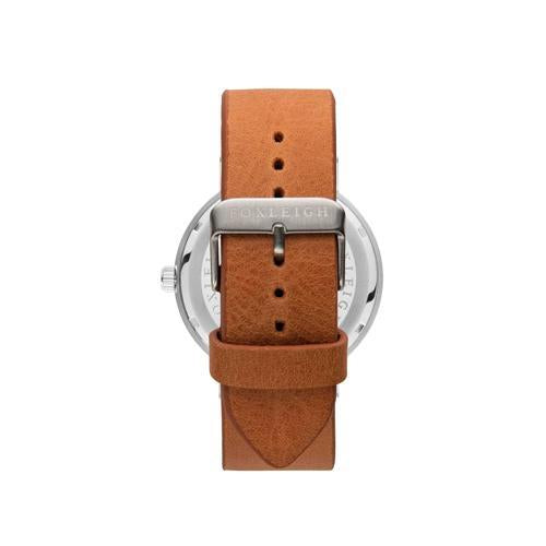 Silver & Tan Leather Timepiece