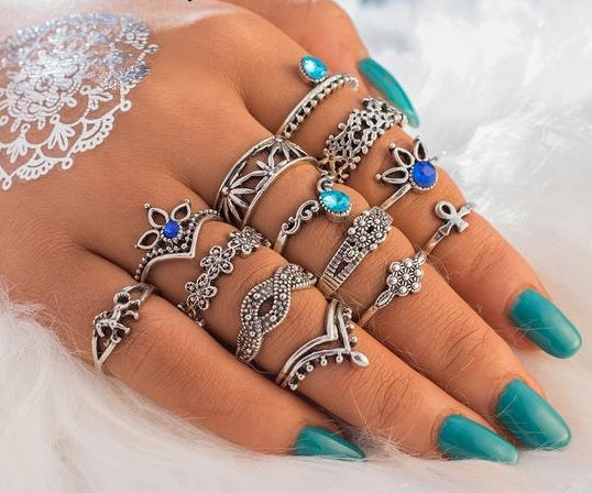 13 Piece Set Retro Knuckle Rings