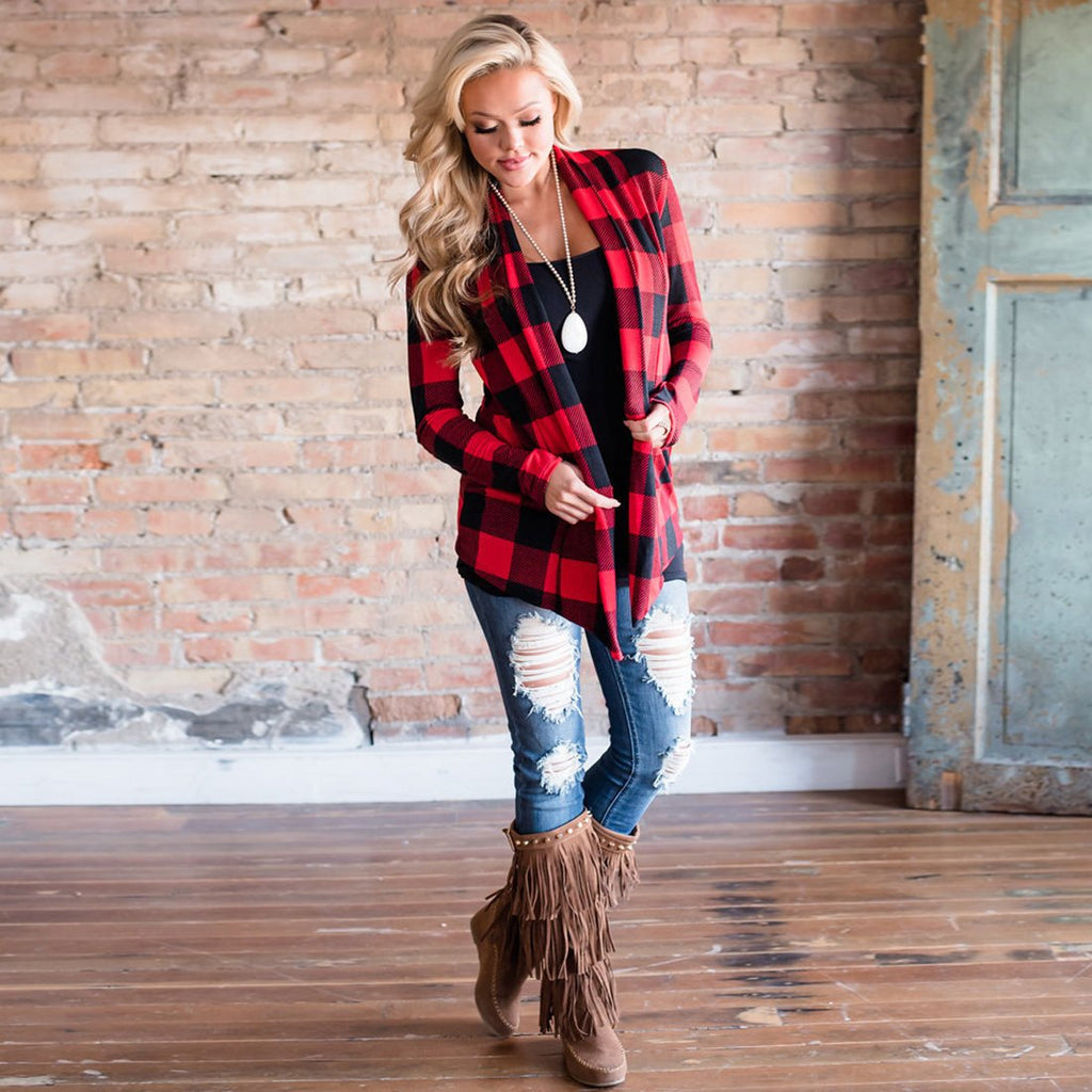 Jacket - Casual Plaid Patchwork Cardigan