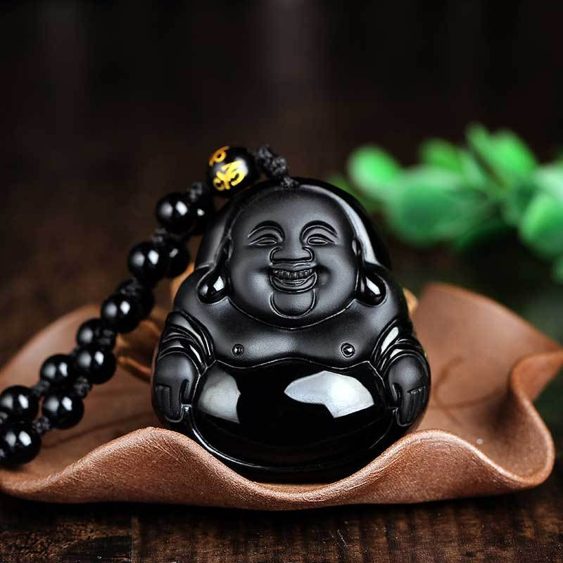 Necklace - Natural Obsidian Buddha Necklace