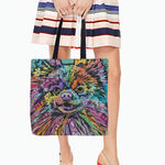 Cute Puppy Dog Color Printed Tote Bag