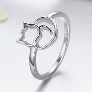 925 Sterling Silver Naughty Little Cat and Heart Finger Ring