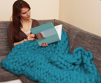 Thick Yarn Hand Knitted Merino Wool Throw Blanket
