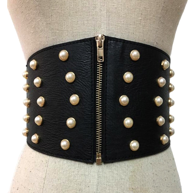 Leather Pearl Female Corset