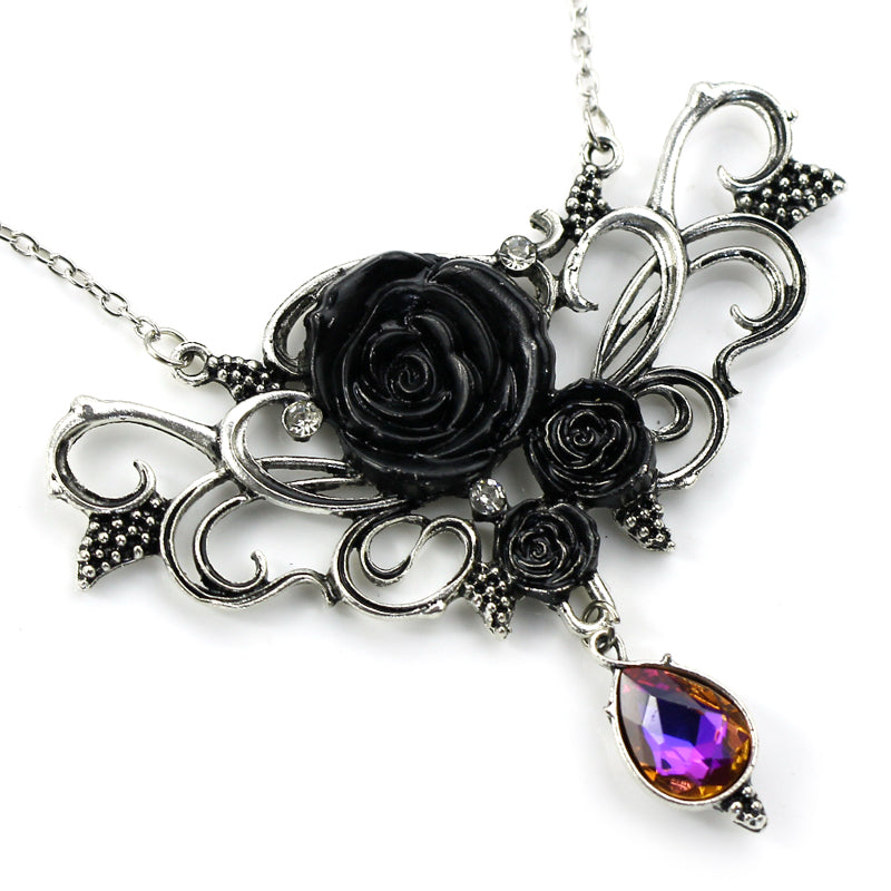 Ancient Silver Rose Necklace With Purple Crystal Pendant
