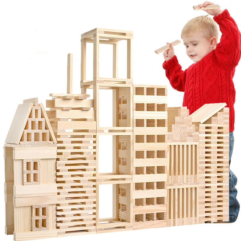 Toys - Montessori Kids Jenga Wooden 100 Pieces Block Building Set