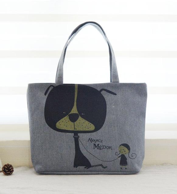 Women's Cartoon Dog Print Beach Tote