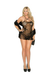 Elegant Moments Lace Baby Doll and Matching G String Black Queen Size