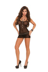 Elegant Moments Fishnet Mini Dress with G String 2 Piece Set Black One Size