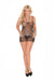 Elegant Moments Fishnet Mini Dress with G String 2 Piece Set Black Queen Size