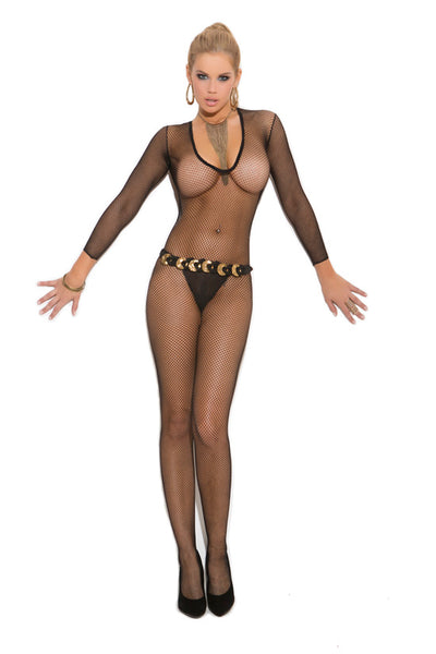 Elegant Moments Deep V Fishnet Bodystocking with Open Crotch Black