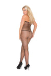 Elegant Moments Open Bust and Open Crotch Fishnet Bodystocking Black Queen Size
