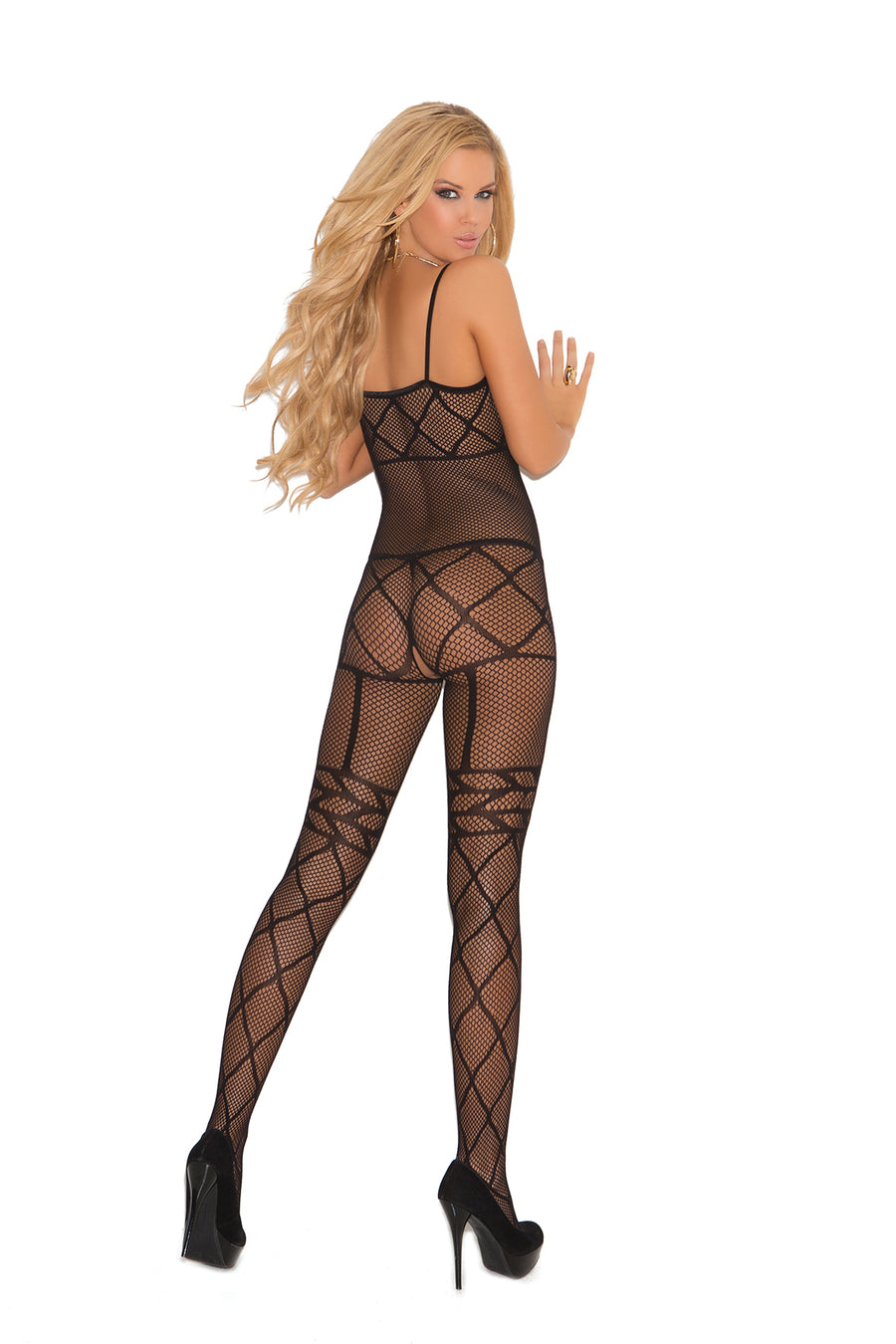 Elegant Moments Fishnet Bodystocking with Open Crotch Black One Size