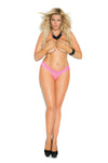 Elegant Moments Lace Thong Neon Hot Pink Queen Size