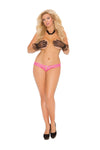 Elegant Moments Mesh Crotchless Panty with Satin Bows Queen Size Neon Hot Pink
