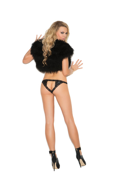 Elegant Moments Satin and Lace Crotchless Panty Black Queen Size