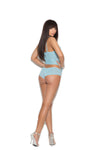 Elegant Moments Mesh and Lace Rhinestone Cami with Matching Booty Shorts 2 Piece Set Baby Blue Medium