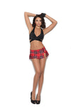 Elegant Moments Pleated School Girl Mini Skirt With Side Zipper and Split Red Plaid
