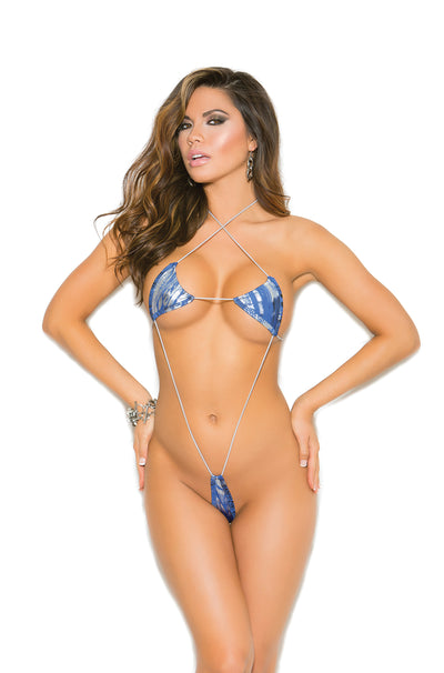 Elegant Moments Micro Mini Suspender Teddy with Halter Neck Blue and Silver One Size