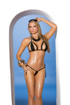 Elegant Moments Lycra Triangle Bikini Top and Matching  Side Tie G String Set One Size Black