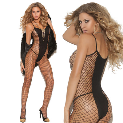 Elegant Moments Diamond Net and Opaque Bodystocking Black One Size