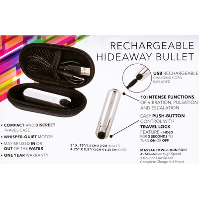 CalExotics 10 Function USB Rechargeable Hideaway Mini Bullet 3 inch Silver