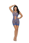 Elegant Moments Fishnet Mini Dress with Cut Out Detail Royal Blue One Size
