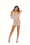 Elegant Moments Crochet Mini Dress with Matching Gloves 2 Piece Set White One Size