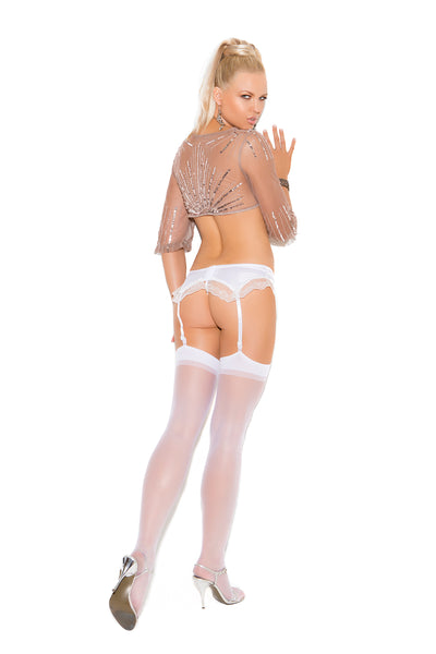 Elegant Moments Sheer Thigh High One Size White