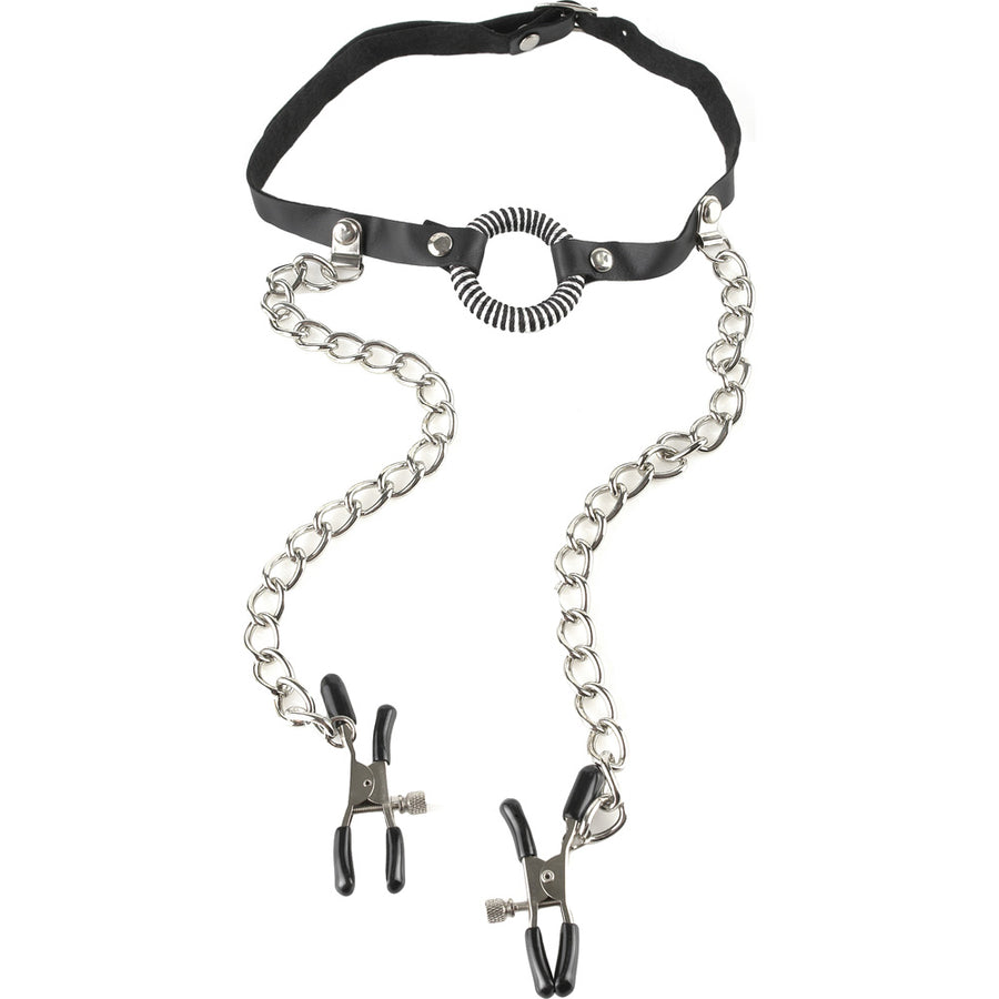 Pipedream Fetish Fantasy Series O Ring Gag with Nipple Clamps