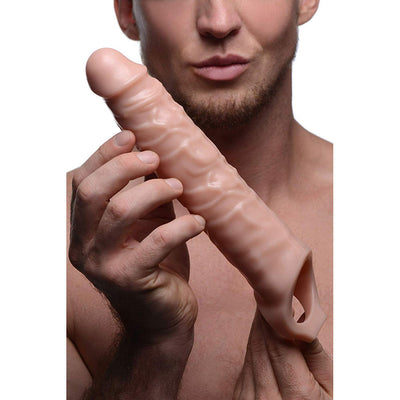 Size Matters 3 inch Penis Extension Sleeve Realistic 3 inch Extra Length Extender with Strap on Ball Harness 11 inch Flesh