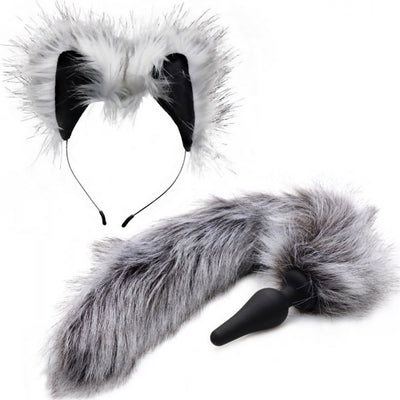 Tailz Grey Wolf Faux Fur Tail Silicone Anal Plug and Ears Set