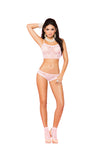 Elegant Moments Lace Cami Top + Booty Shorts and Matching Anklets Baby Pink One Size