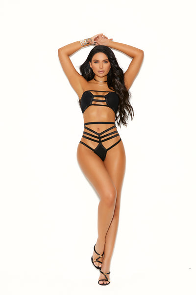 Elegant Moments Opaque Bralette Top and Matching Thong Panty 2 Piece Set Black One Size