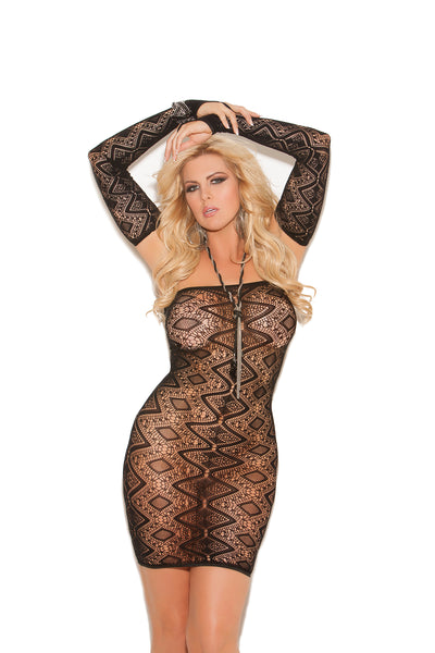 Elegant Moments Diamond Pattern Bandeau Mini Dress with Open Back and Matching Gloves 2 Piece Set Black Queen Size