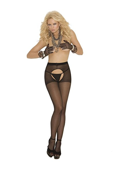 Elegant Moments Sheer Crotchless Pantyhose Black One Size