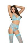 Elegant Moments Mesh and Lace Bralette + Matching Strappy Panty + Matching Garter Belt 3 Piece Set Sky Blue Small