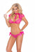 Elegant Moments Lace and Mesh Cami with Satin Bows and Matching Panty 2 Piece Set Hot Pink Medium