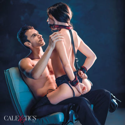 CalExotics Scandal Breathable Ball Gag with Cuffs and Restraints