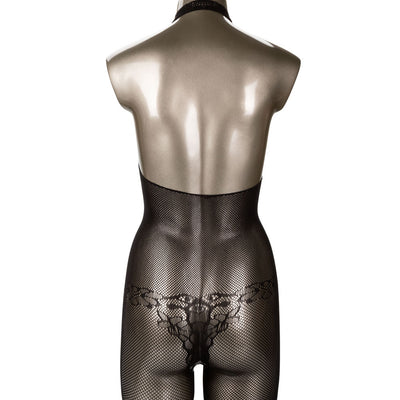 CalExotics Scandal Halter Neck Lace Body Suit Bodystocking with Open Crotch Black One Size