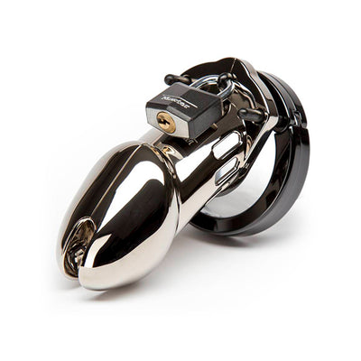 CB 6000 Premium Male Chastity Cock Cage and Lock Set 3.75 inch Chrome