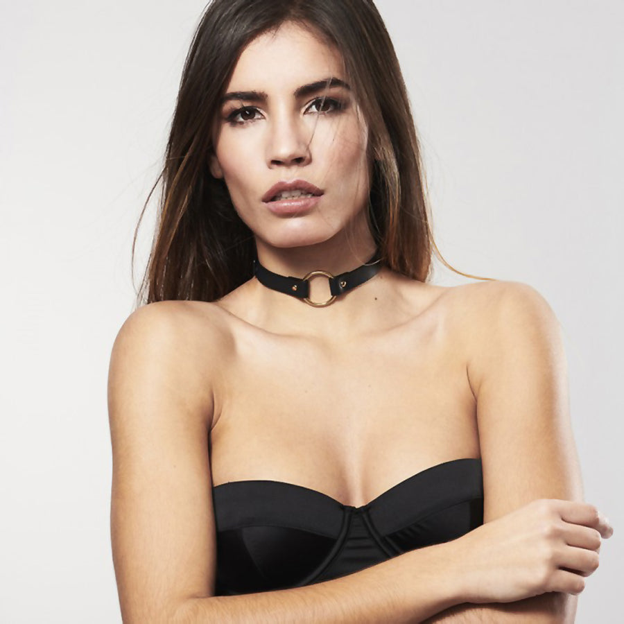 Bijoux Indiscrets Maze Single Ring Choker Vegan Leather Collar Black