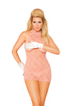 Elegant Moments Open Cup Bra Halter Neck Style Lace Mini Dress Coral Queen Size